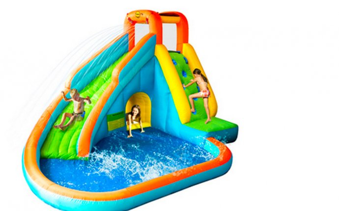 Inflatable kids pool with slide